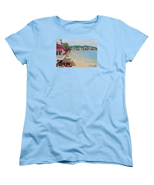Beach In Grand Case Women's T-Shirt (Standard Cut) by Margaret Brooks