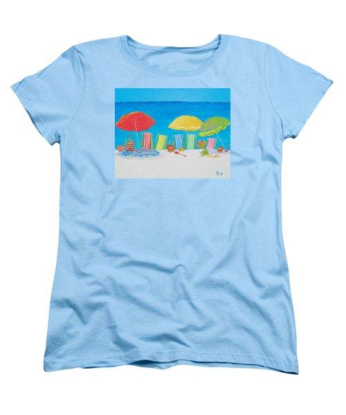 Beach Painting - Deck Chairs Women's T-Shirt (Standard Cut) by Jan Matson