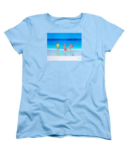 Beach Painting - Water Play  Women's T-Shirt (Standard Cut) by Jan Matson