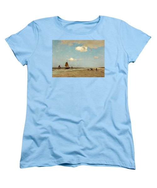 Women's T-Shirt (Standard Cut) featuring the painting Beach Scene by Jan Hendrik Weissenbruch