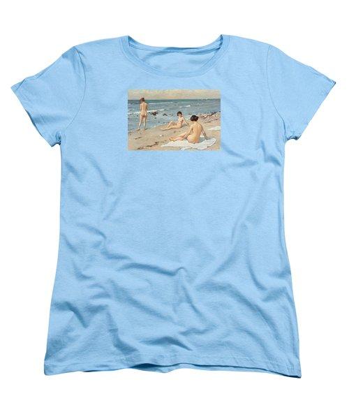 Beach Scenery With Bathing Women Women's T-Shirt (Standard Cut) by Paul Fischer