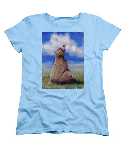 Bear And Butterfly Women's T-Shirt (Standard Cut) by Billie Colson