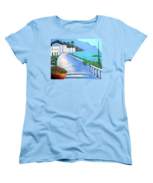 Women's T-Shirt (Standard Cut) featuring the painting Beauty Of The Riviera by Larry Cirigliano