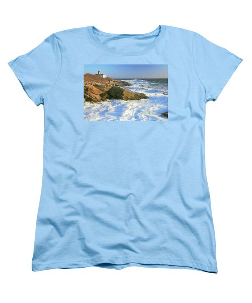 Beavertail Point And Lighthouse  Women's T-Shirt (Standard Cut) by Roupen  Baker