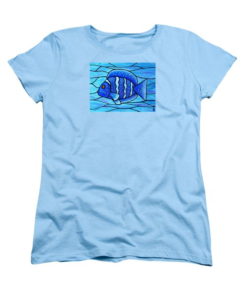 Beckys Blue Tropical Fish Women's T-Shirt (Standard Cut) by Jim Harris