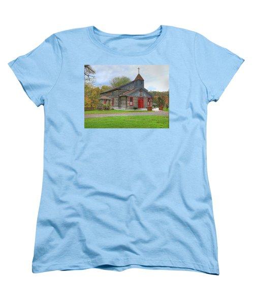 Women's T-Shirt (Standard Cut) featuring the digital art Bedford Village Church by Sharon Batdorf