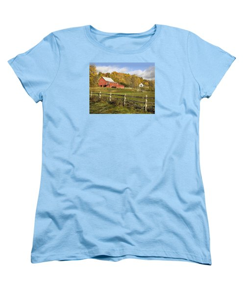 Women's T-Shirt (Standard Cut) featuring the photograph Bee Hive Farm, West Windsor, Vt by Betty Denise
