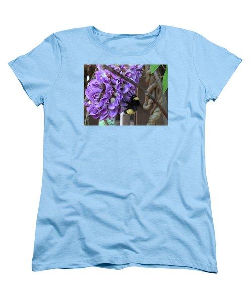 Bee On Native Wisteria Women's T-Shirt (Standard Cut) by Angela Annas
