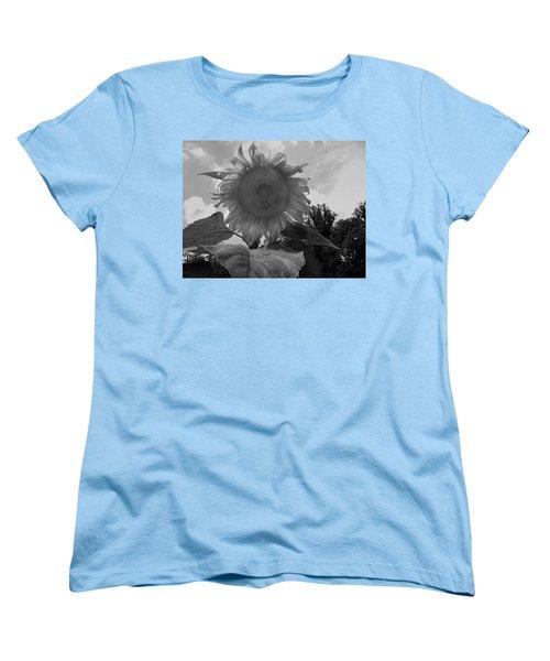 Women's T-Shirt (Standard Cut) featuring the digital art Bees On A Sunflower by Chris Flees