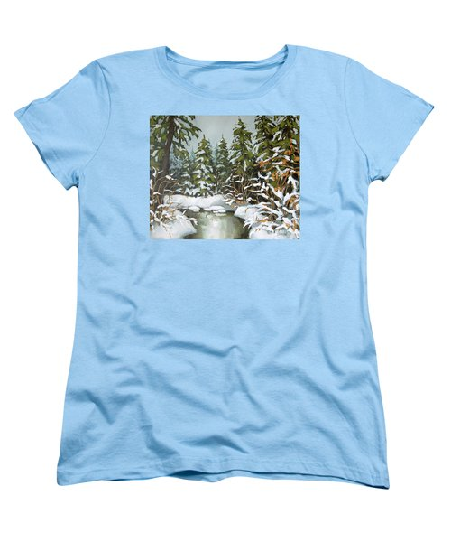 Women's T-Shirt (Standard Cut) featuring the painting Behind The River Bend by Inese Poga