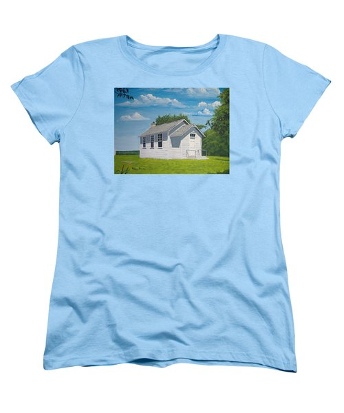 Women's T-Shirt (Standard Cut) featuring the painting Belding School by Norm Starks