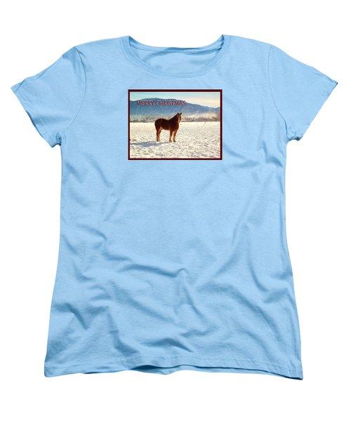 Women's T-Shirt (Standard Cut) featuring the photograph Belgium Draft Horse Christmas by Deborah Moen