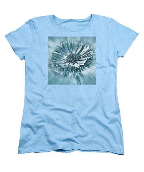 Bellis In Cyan  #flower #flowers Women's T-Shirt (Standard Cut) by John Edwards