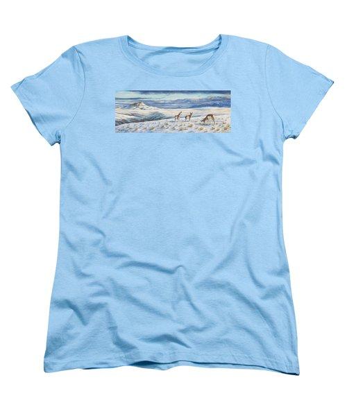Women's T-Shirt (Standard Cut) featuring the painting Belt Butte Winter by Kim Lockman
