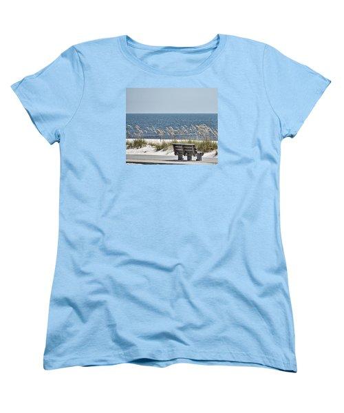 Bench At The Beach Women's T-Shirt (Standard Cut) by Cathy Jourdan
