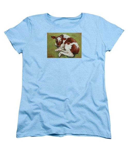 Women's T-Shirt (Standard Cut) featuring the painting Bendy New Calf by Margaret Stockdale