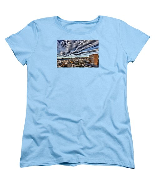Women's T-Shirt (Standard Cut) featuring the photograph Benidorm Old Town Aerial View by Mick Flynn