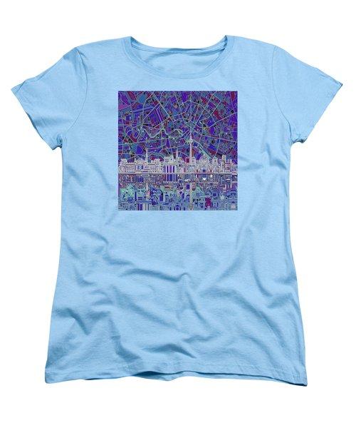 Berlin City Skyline Abstract 3 Women's T-Shirt (Standard Cut) by Bekim Art