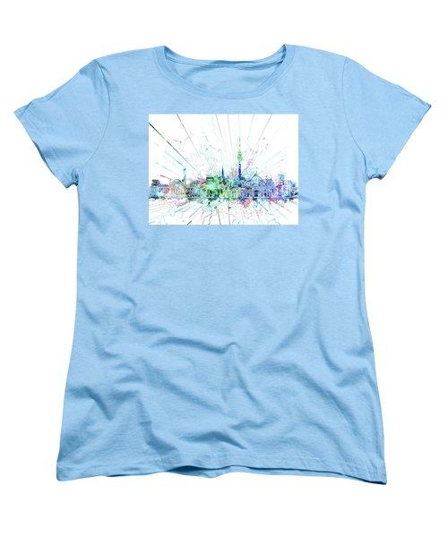 Berlin City Skyline Watercolor 3 Women's T-Shirt (Standard Cut) by Bekim Art