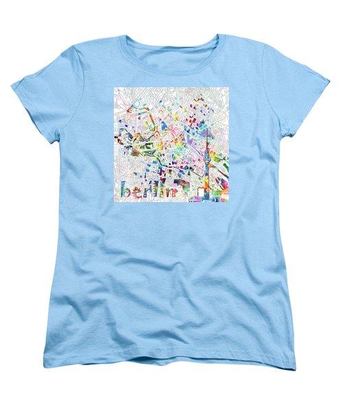 Berlin Map White Women's T-Shirt (Standard Cut) by Bekim Art