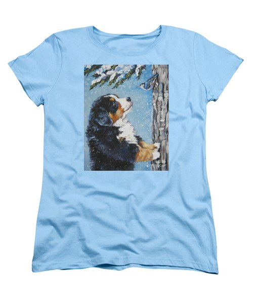 bernese Mountain Dog puppy and nuthatch Women's T-Shirt (Standard Cut) by Lee Ann Shepard
