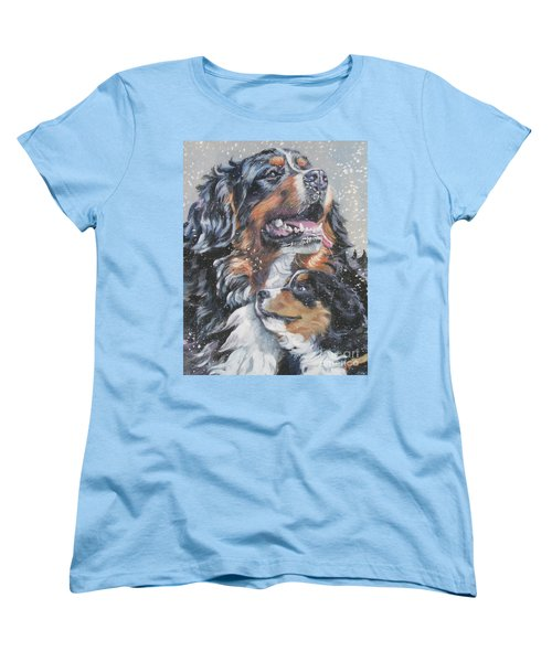 Bernese Mountain Dog With Pup Women's T-Shirt (Standard Cut) by Lee Ann Shepard