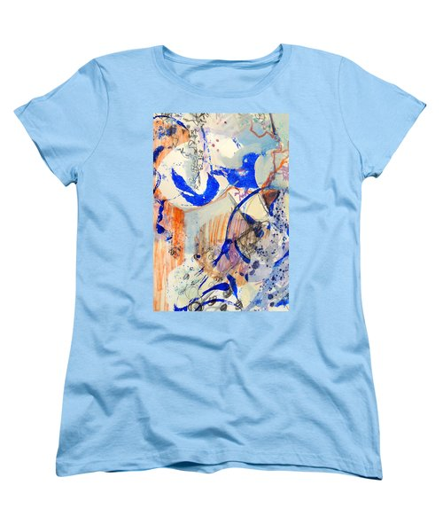 Women's T-Shirt (Standard Cut) featuring the mixed media Between Branches by Mary Schiros