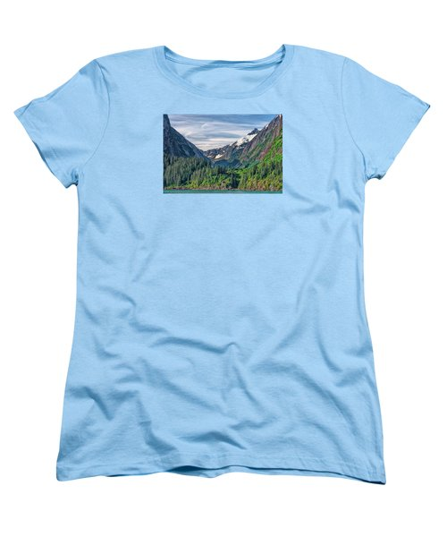 Women's T-Shirt (Standard Cut) featuring the photograph Between The Peaks by Lewis Mann