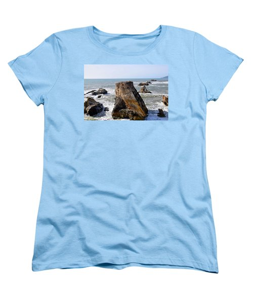 Women's T-Shirt (Standard Cut) featuring the photograph Big Rocks In Grey Water by Barbara Snyder