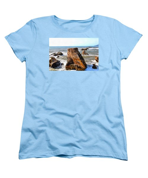 Women's T-Shirt (Standard Cut) featuring the photograph Big Rocks In Grey Water Painting by Barbara Snyder