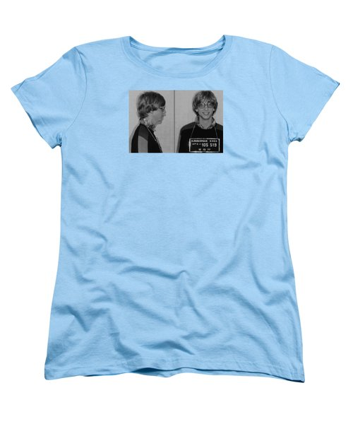 Bill Gates Mug Shot Horizontal Black And White Women's T-Shirt (Standard Cut) by Tony Rubino