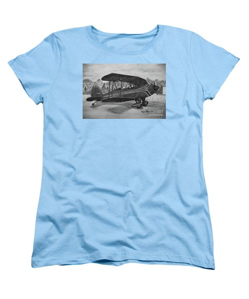 Biplane In Black And White Women's T-Shirt (Standard Cut) by Megan Cohen