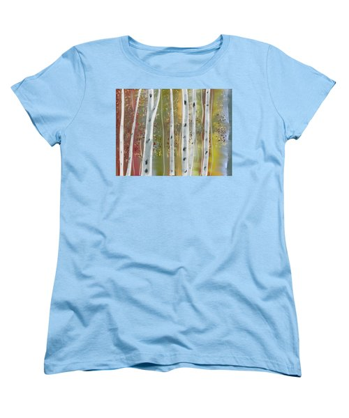 Women's T-Shirt (Standard Cut) featuring the digital art Birch Forest by Paula Brown