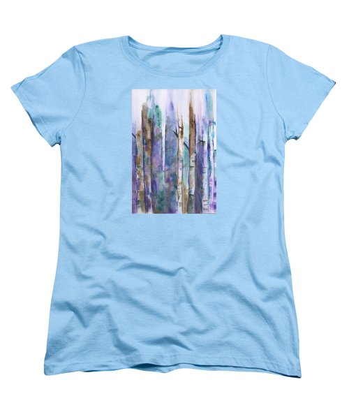 Birch Trees Abstract Women's T-Shirt (Standard Cut) by Frank Bright