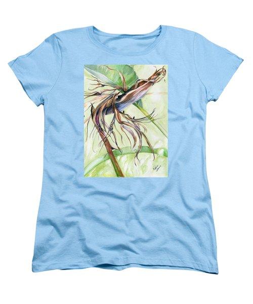 Bird Of Paradise, A Faded Beauty Women's T-Shirt (Standard Cut) by Nadine Dennis