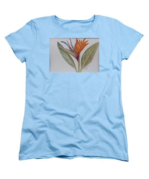 Women's T-Shirt (Standard Cut) featuring the painting Bird Of Paradise by Donna Walsh