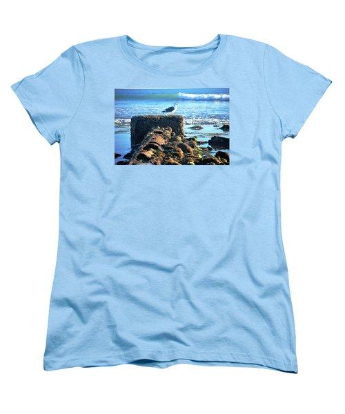 Bird On Perch At Beach Women's T-Shirt (Standard Cut) by Matt Harang