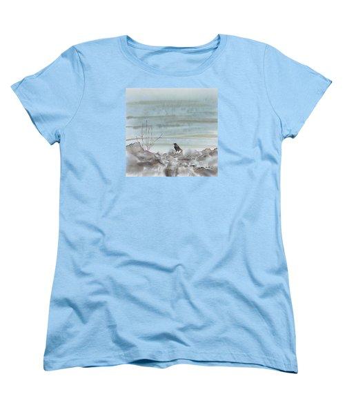 Bird On The Shore Women's T-Shirt (Standard Cut) by Carolyn Doe