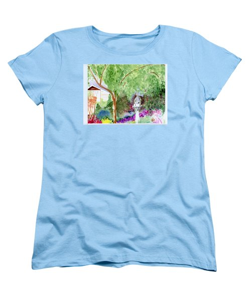 Women's T-Shirt (Standard Cut) featuring the painting Birdhouse by Jamie Frier