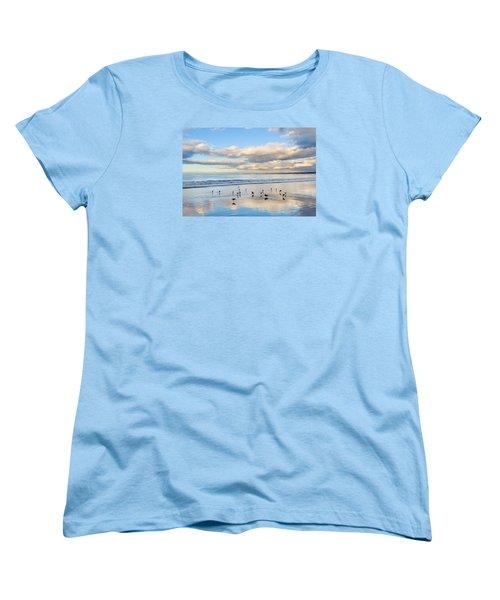 Birds On The Beach Women's T-Shirt (Standard Cut) by Derek Dean