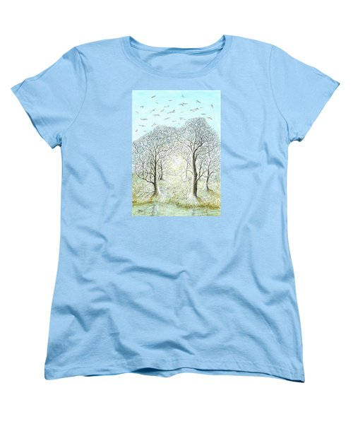 Birds Swirl Women's T-Shirt (Standard Cut) by Charles Cater