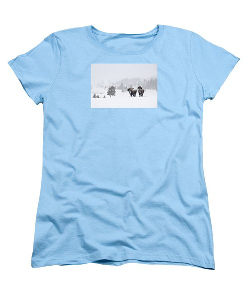 Women's T-Shirt (Standard Cut) featuring the photograph Bison In The Snow by Gary Lengyel