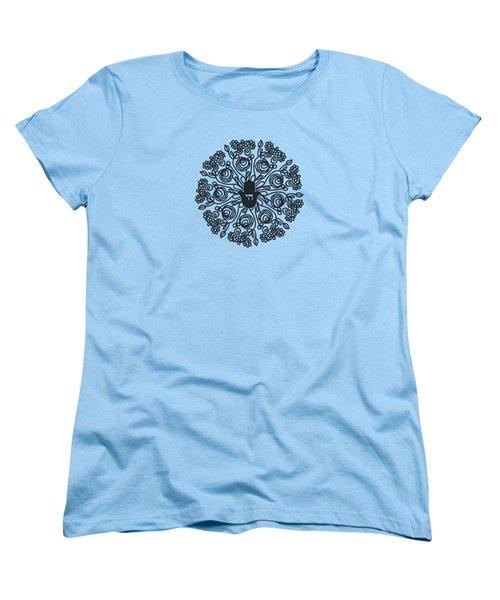 Black And White Hamsa Mandala- Art By Linda Woods Women's T-Shirt (Standard Cut) by Linda Woods