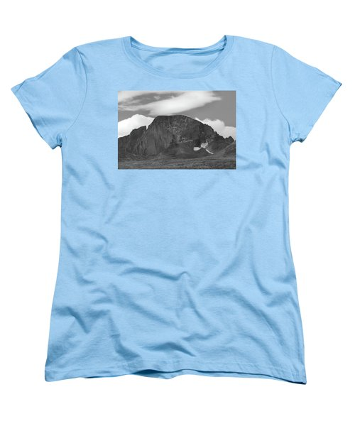 Women's T-Shirt (Standard Cut) featuring the photograph Black And White Longs Peak Detail by Dan Sproul