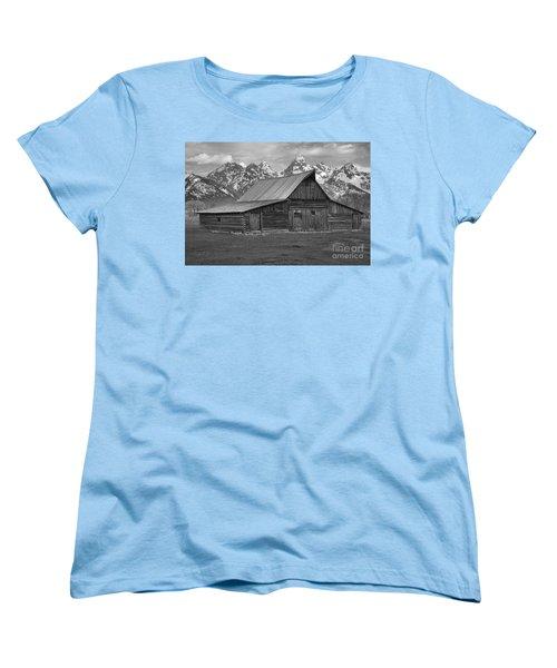 Black And White Mormon Row Barn Women's T-Shirt (Standard Cut) by Adam Jewell