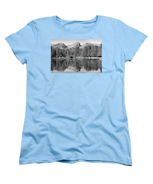 Women's T-Shirt (Standard Cut) featuring the photograph Black And White Sprague Lake Reflection by Dan Sproul