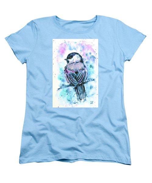 Women's T-Shirt (Standard Cut) featuring the painting Black-capped Chickadee by Zaira Dzhaubaeva