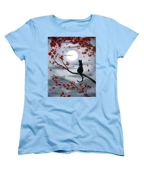 Black Cat In Silvery Moonlight Women's T-Shirt (Standard Cut) by Laura Iverson