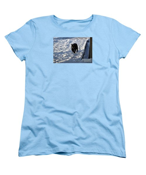 Women's T-Shirt (Standard Cut) featuring the photograph Black Cat In Snow by Mark McReynolds