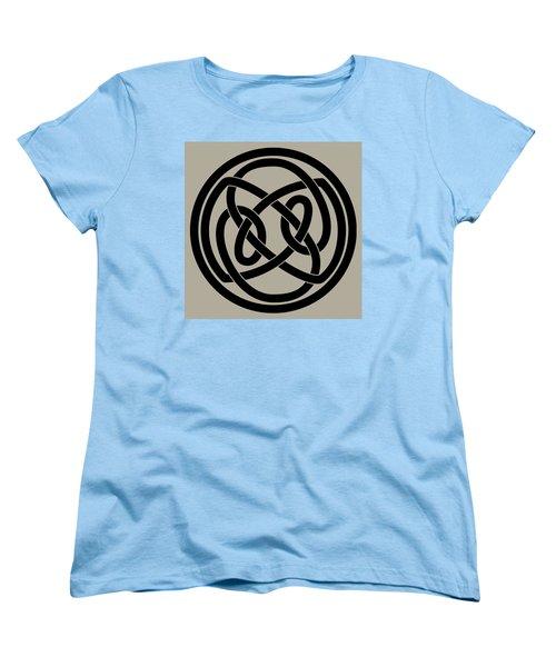 Women's T-Shirt (Standard Cut) featuring the digital art Black Celtic Knot by Jane McIlroy